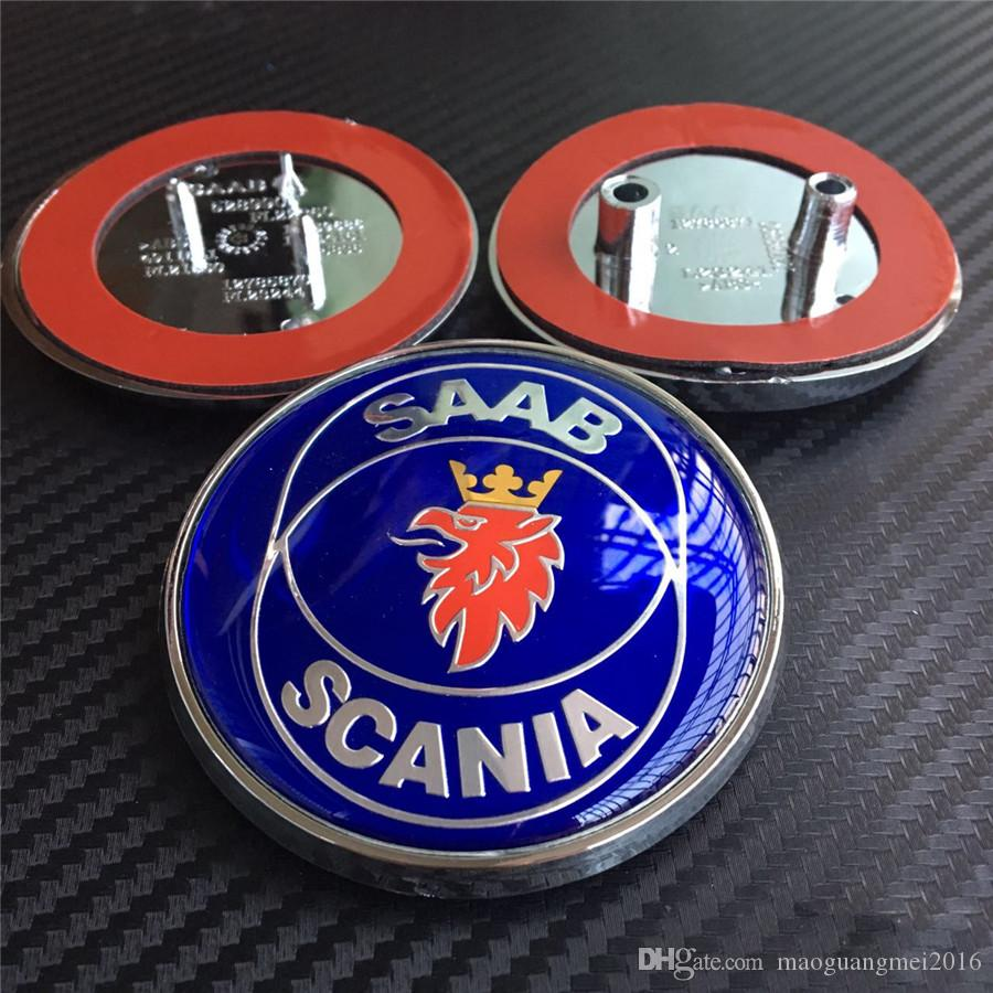 Saab Scania Emblem Front Rear Car Badges Logo Blue Black Carbon With