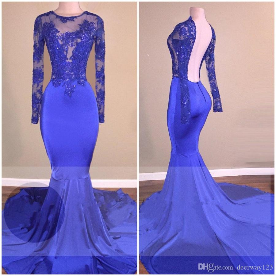 Sereia Royal-azul aberto de volta brilhante Sheer mangas compridas vestidos de baile Ver através de corpete cristais com Tribunal treinar vestidos de festa