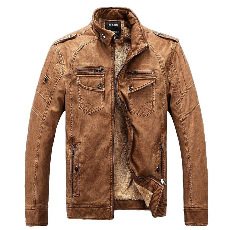 2017 Leather Jacket Men Winter Jackets Men'S Coats Thickening Wool ...