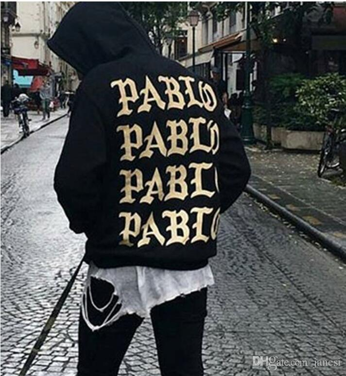 New red golden letters the life of pablo kanye hoodie men hip hop pull paris opening stagione 3 giacche i feel like pablo clothing