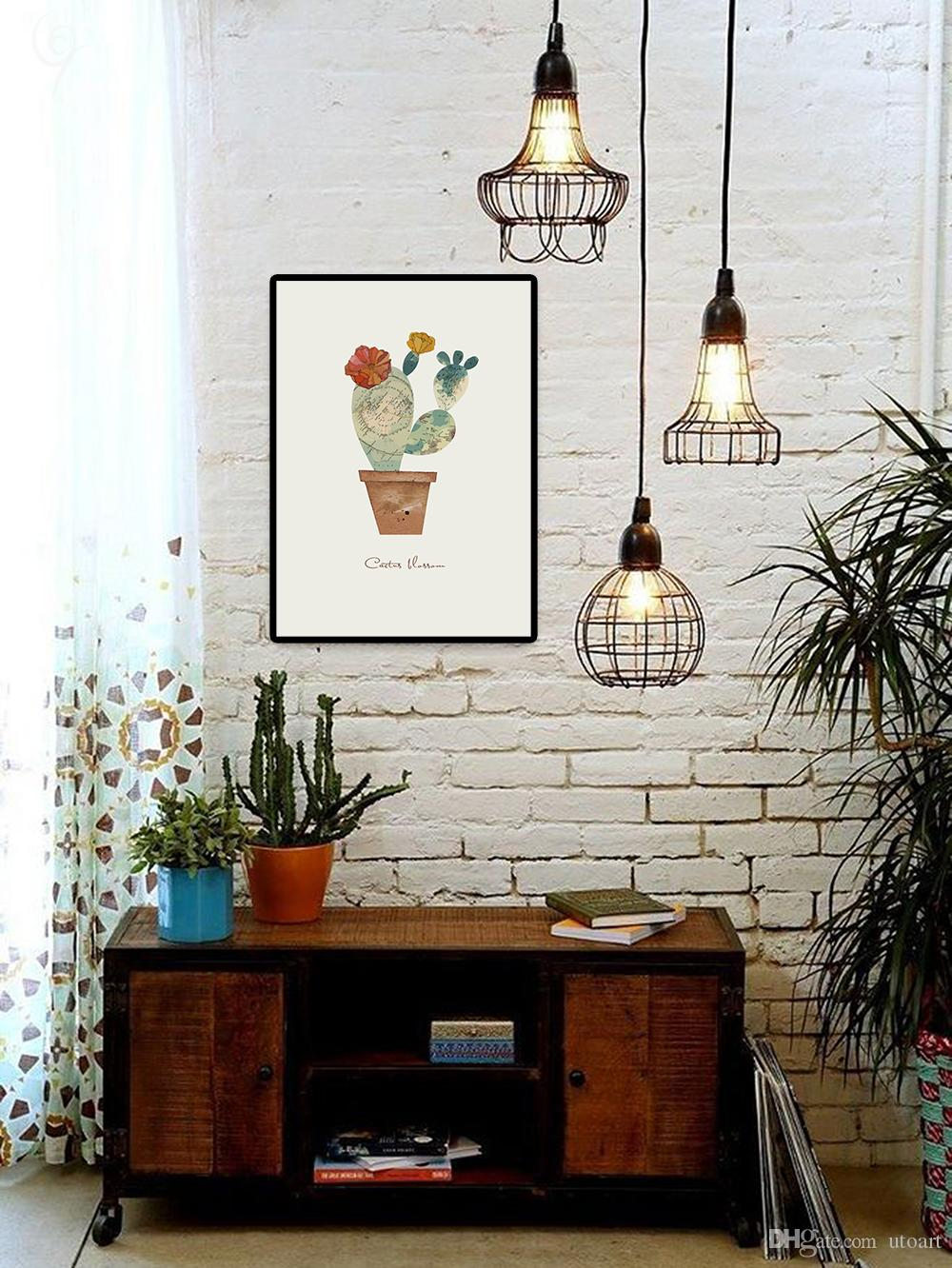 Impression Leafy Cactus Wall Painting Green Cactus Printed Canvas Painting Wall Art Home Decoration Dining Room