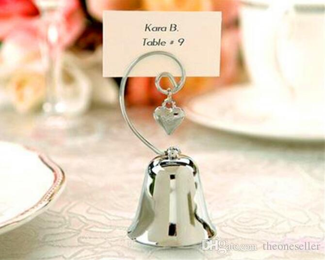 Charming Chrome Heart Bell Place Card Photo Holder with Dangling Heart Charm Baby Shower Favors Creative gift