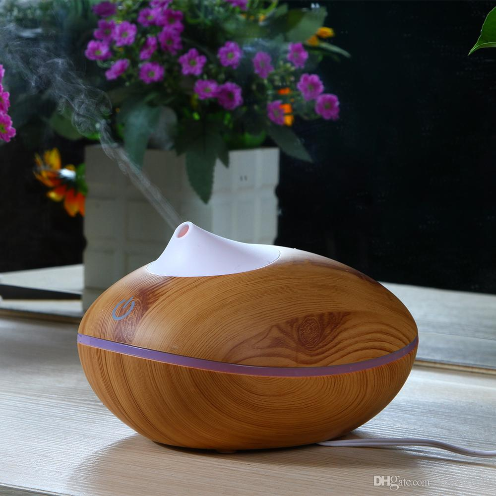 200ml Capacity Time Setting Ultrasonic Essential Oil Diffuser Cool Mist Wood Grain Aroma Humidifier Diffuser With Remote