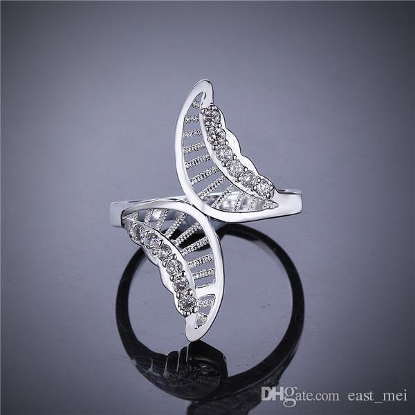 패션 디자인 중공 버트 도금 스털링 실버 손가락 반지 맞는 여성, 결혼식 흰색 보석 925 실버 플레이트는 결혼 반지 ER544은 반지