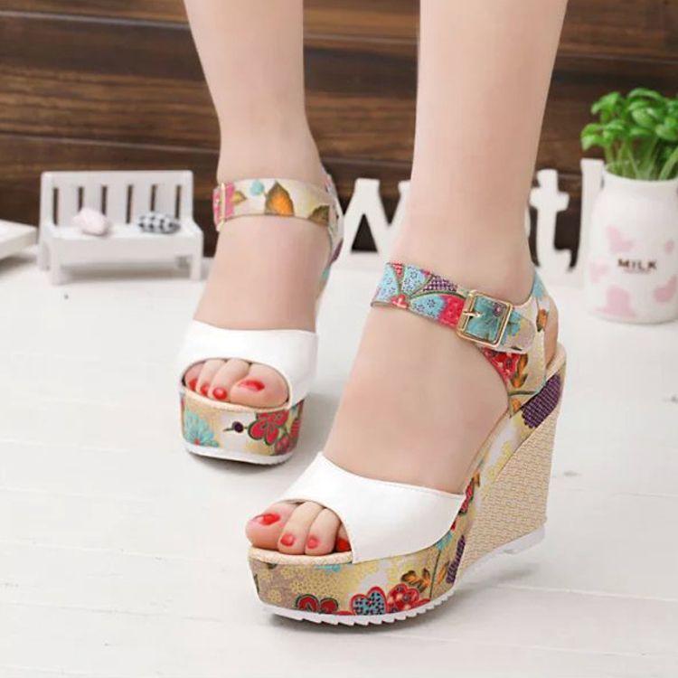87ef87ac0c93 Wholesale Fashion Women Sandals Summer Wedges Women S Sandals Platform Lace  Belt Bow Flip Flops Open Toe High Heeled Women Shoes Female26 Salt Water  Sandals ...
