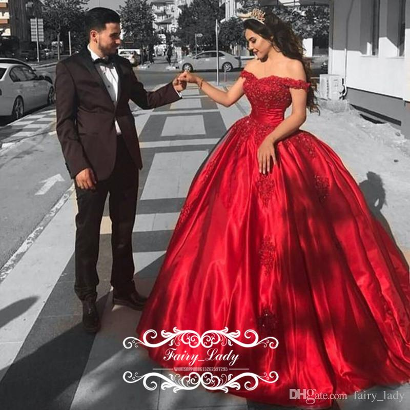 Cheap Red Satin Quinceanera Dresses For Girls 2017 Ball Gown Off