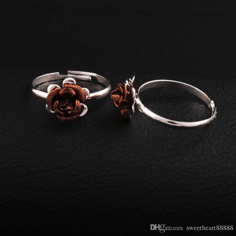 Colorido pequeno anel de flor ajustável 100 pçs / lote anéis de banda fresca jóias diy novo r3088 / 98