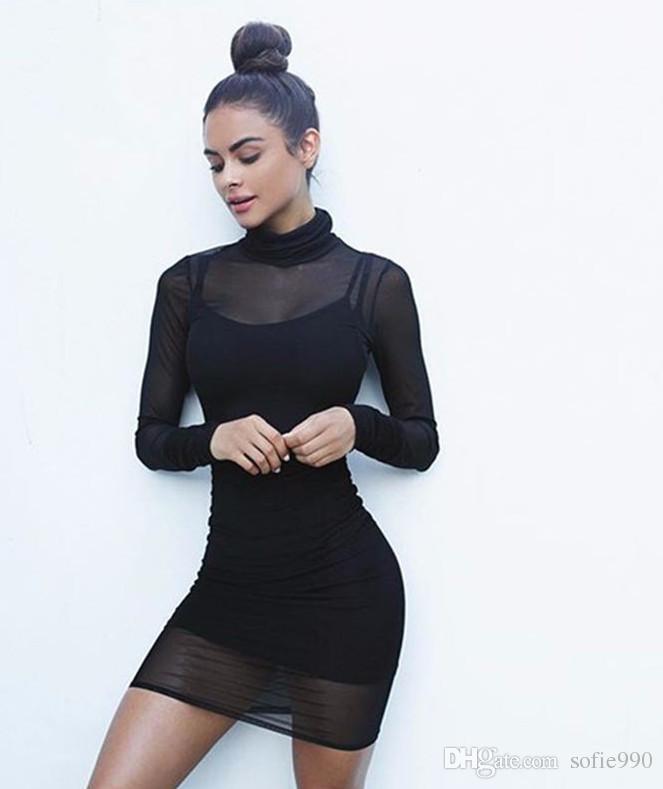quality design 5d576 f7bbb Vestito di maglia di prospettiva di marca autunno 2 pezzi scava fuori  vestito da partito sexy vestito sottile abiti