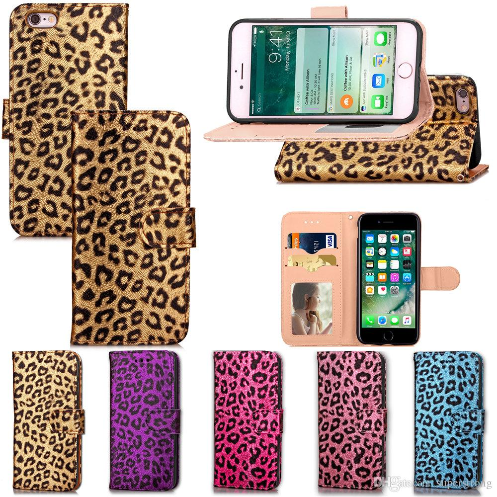 Leopard Pattern Magnetic Closure Design , Premium PU Leather Wallet Case Flip Cover with Card Holders for Apple iPhone 6 4.7-inch