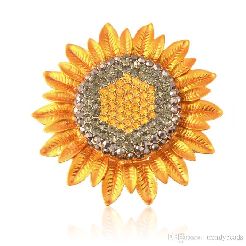 Spilla di girasole strass matrimonio, abbellimento brachette bouquet da sposa, artigianato fai da te fiore d'argento broccia