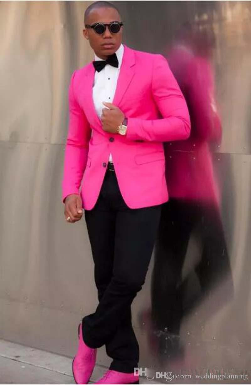 Bir Düğme Slim Fit Damat Smokin Sıcak Pembe Fushica Ceket + Pantolon + Kravat erkek takım elbise en iyi erkek takım elbise Custom Made parti takımları