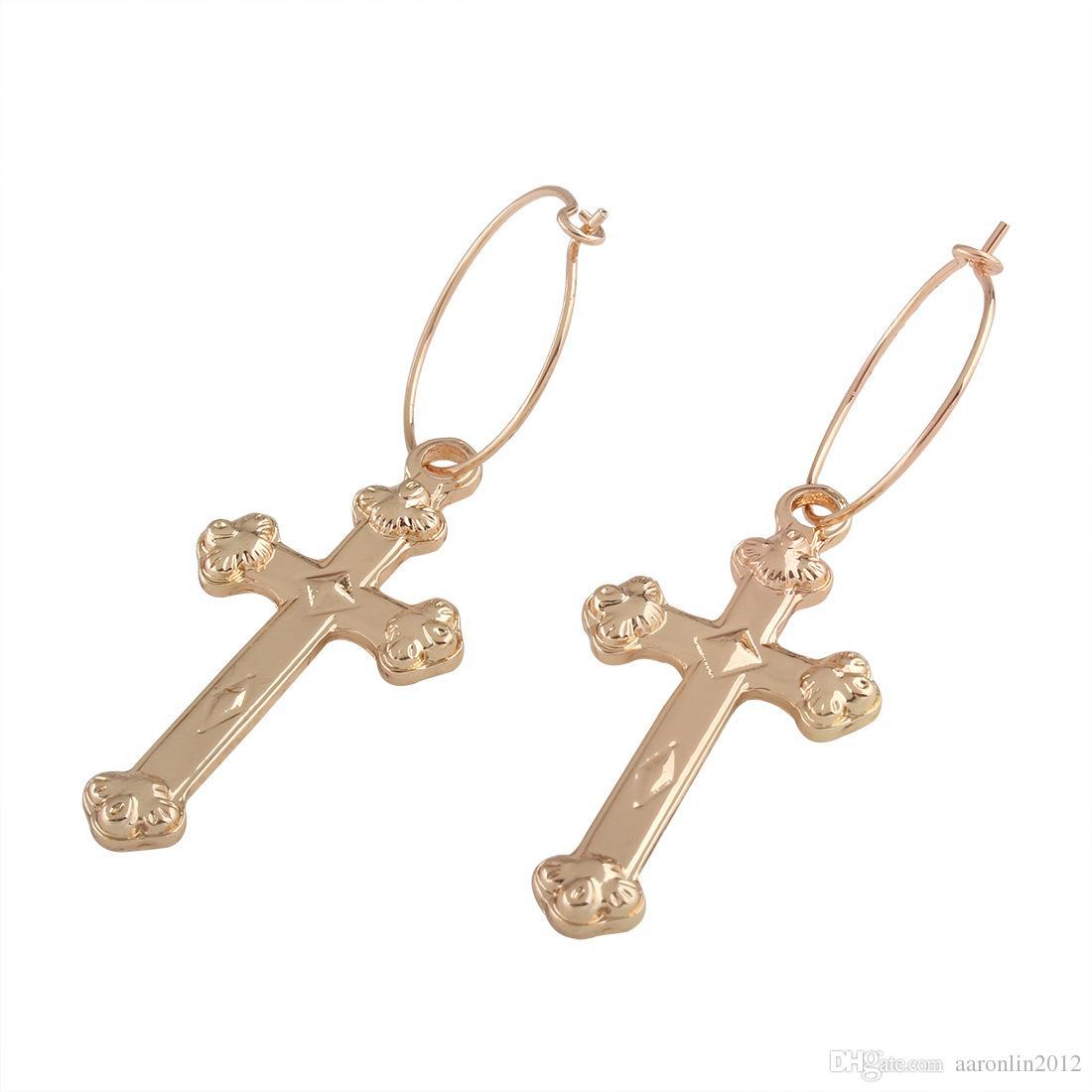 أزياء العلامة التجارية المعادن الصليب هوب أقراط للنساء الشرير مجوهرات الذهب دائرة الأقراط قلادة خمر بيجو