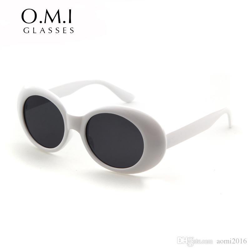 98e67f0a35ed2 Óculos de proteção NIRVANA Kurt Cobain Óculos Clássico Retro Vintage Branco  Preto Oval Óculos De Sol Alienígena Shades 90 s Óculos de Sol Do Punk Rock  ...