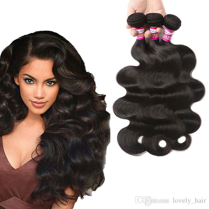 Lovely Angle Body Wave Human Hair Weave Bundles Natural Color Hair
