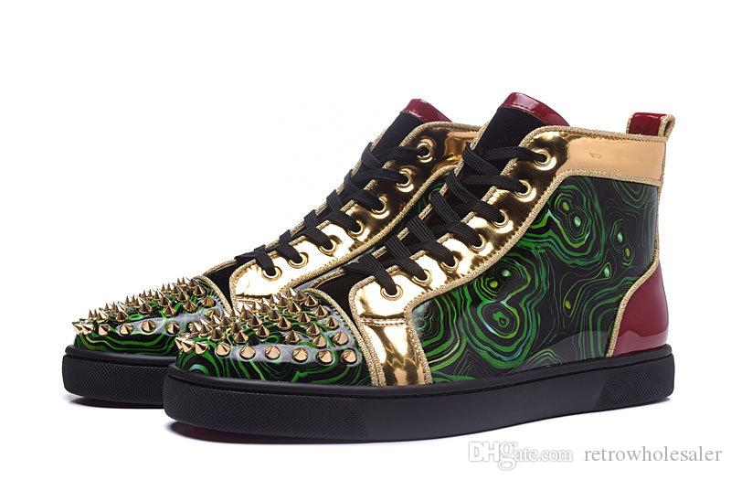 ec9a81cda729f Red Bottom Casual shoes Gold Spikes sneaker Black Green Real leather High  Top Unisex Paris Fashion Lace up Spring/Autumn flats