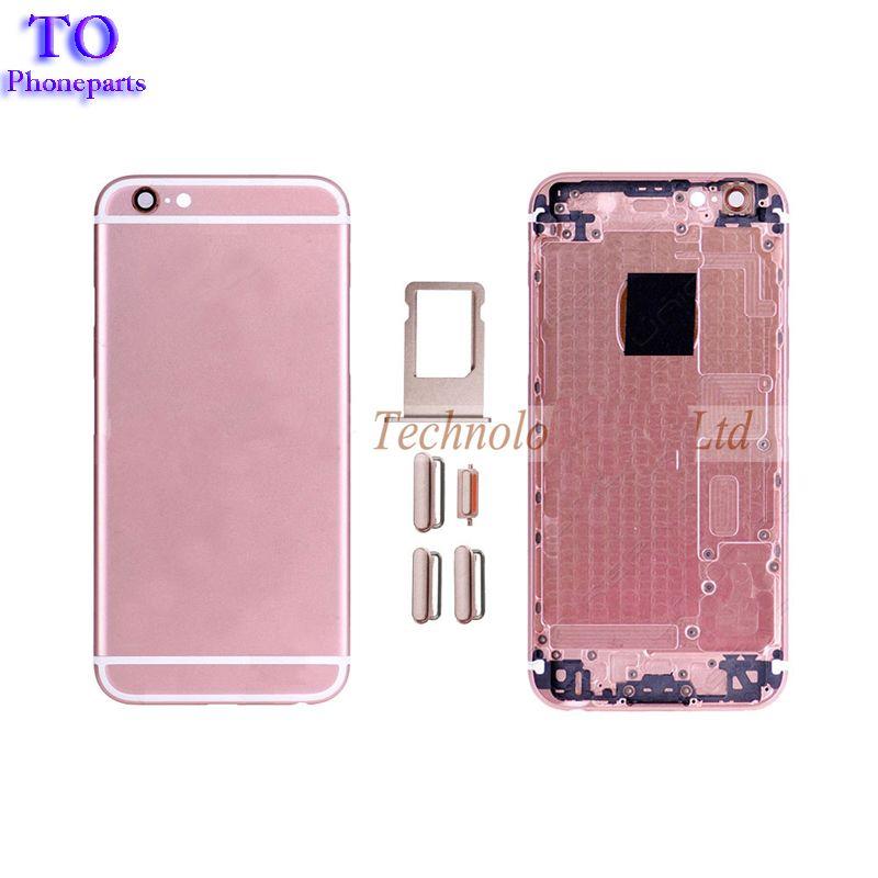 Para iphone 6s voltar habitação moldura de metal de substituição para iphone 6 s plus tampa da porta da bateria tampa traseira chassi quadro frete grátis