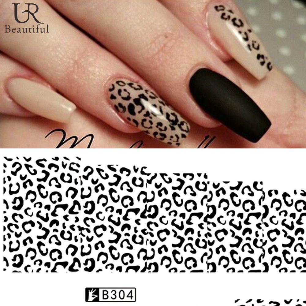 Wholesale 1 Sheet Blackwhite Leopard Nail Art Water Transfer