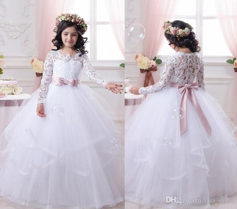 Compre Vestidos De Niña De Flores Para Bodas Vestidos De Manga Larga De Encaje Vestidos Para Niñas Vestidos De Primera Comunión Vestido De Fiesta De