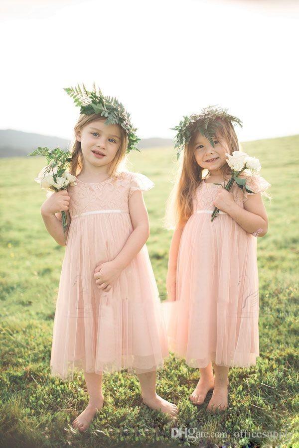 Little Pink Toddler Flower Girls Dresses For Weddings Short Sleeve Lace Kids Formal Wear Tea Length Cheap Vintage Girl's Pageant Gowns