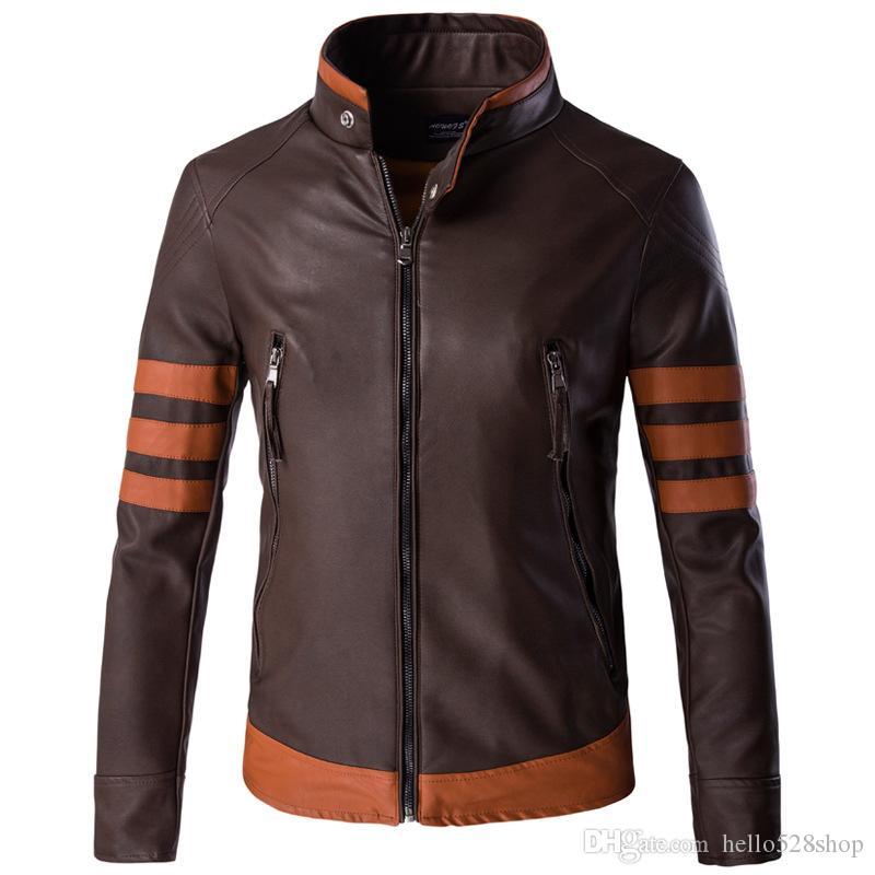 classic fit 36c81 98814 Herbst Military Herren Motorrad PU Lederjacken Hohe Qualität Nähte Farbe  Stehkragen Oberbekleidung Coole Marke für Mode Braun