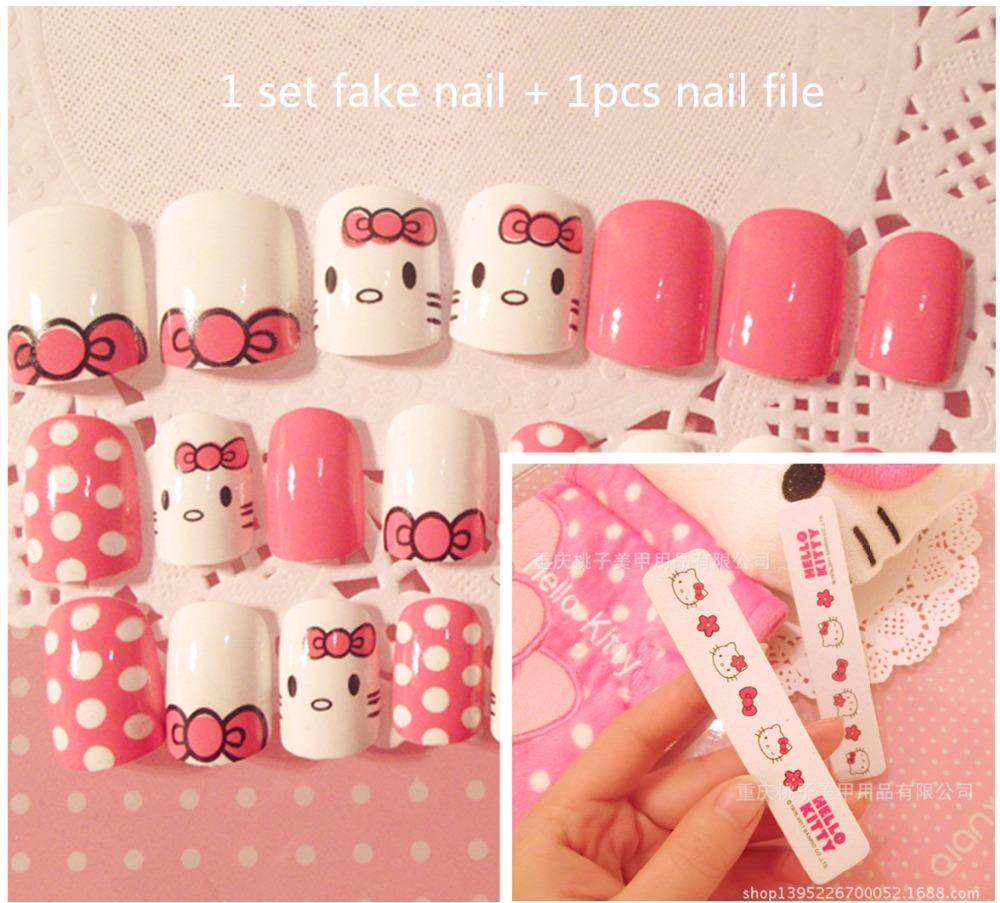 Wholesale Hello Kitty Print Fake Nails With Nail File Decoration ...