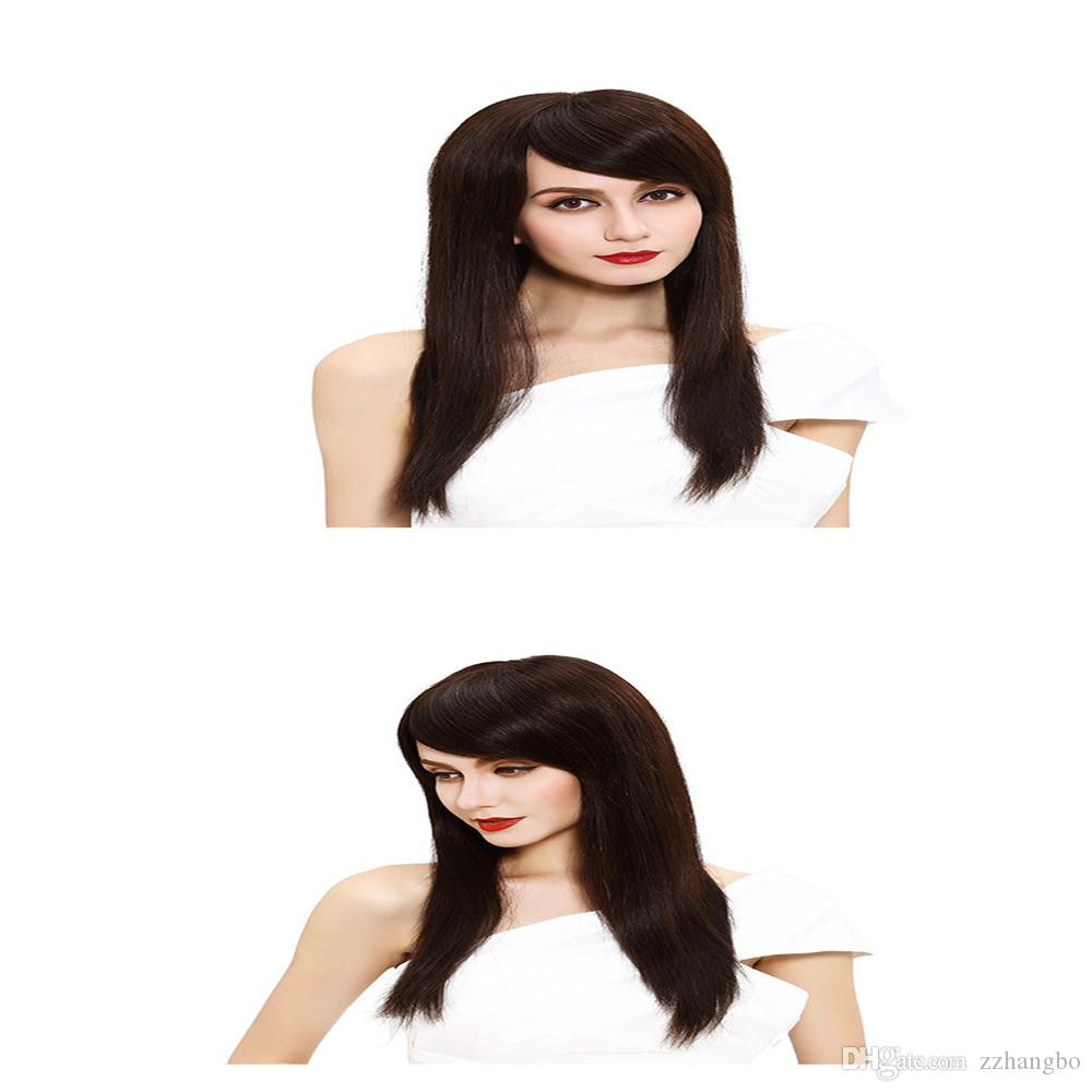Full Lace Human Hair Wig Senior silk wig Long Wavy Full Lace Wigs Brazilian Virgin Hair 100% With Bangs For women Color Natural 4 # kabell