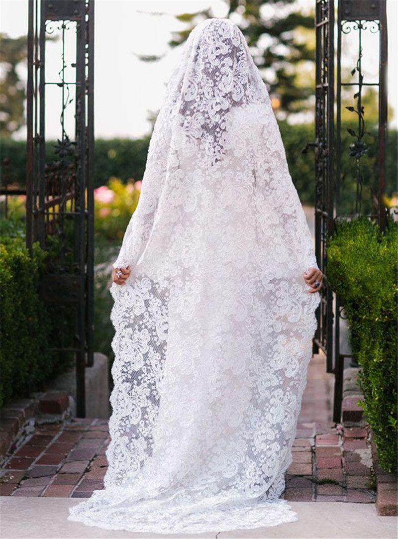 Blanc Ivoire De Luxe Dentelle De Mariage Voils Dentelle Classique Voile De Mariée Accessoires De Mariage Mariée Mantilla Voile De Mariage