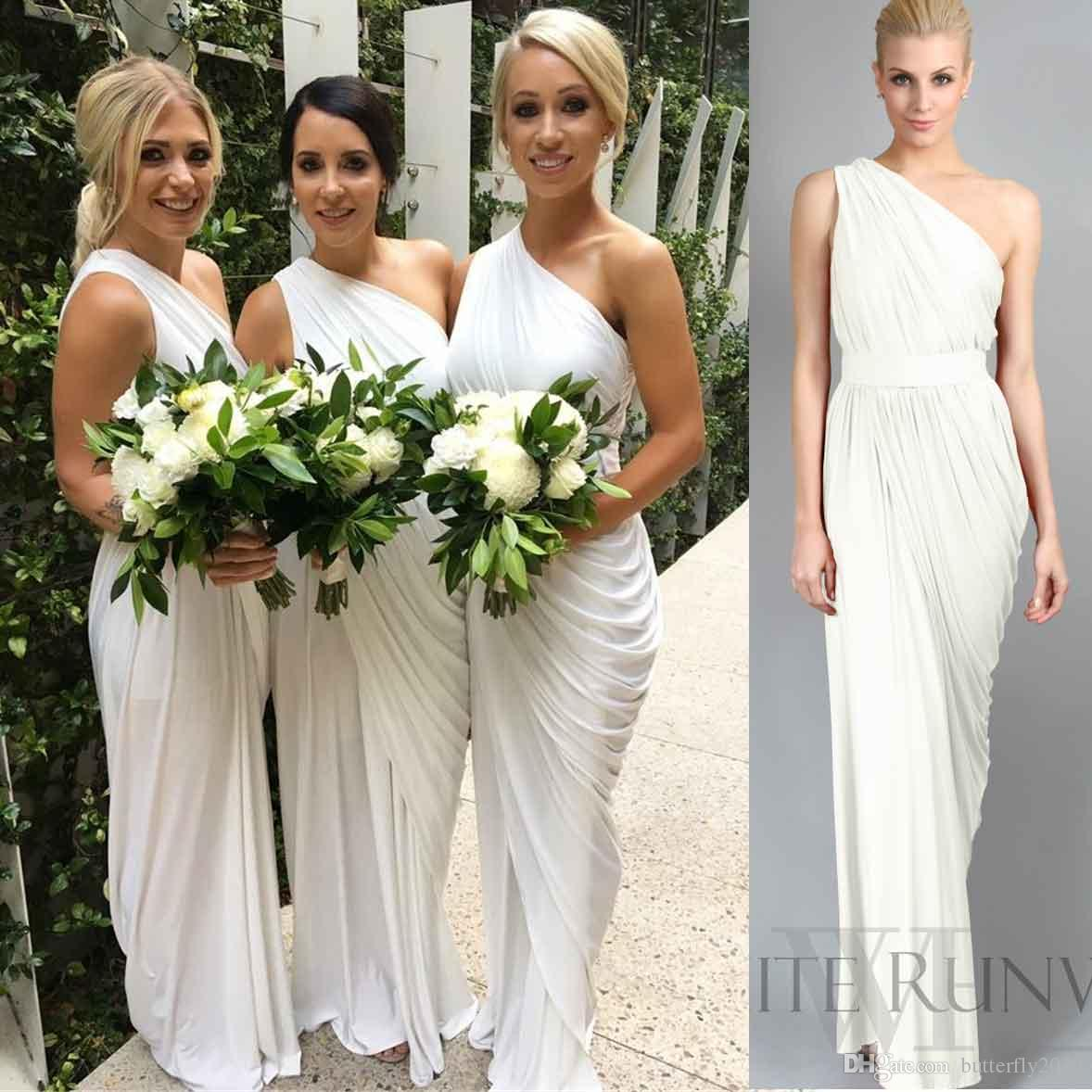 Ivory chiffon one shoulder beach bridesmaid dresses long pleated ivory chiffon one shoulder beach bridesmaid dresses long pleated cheap bridesmaids gown plus size maid of honor dress fast shipping patterns for bridesmaid ombrellifo Images