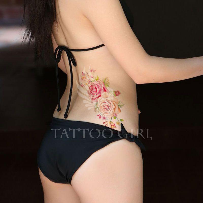 Indian Arabic Fake temporary tattoos stickers rose flowers arm shoulder tattoo waterproof women big on body