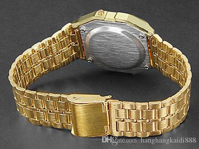 2018 Art und Weise Retro Vintage Gold-Uhr-Mann-elektronische Digital-Uhr-LED-Licht-Kleid Armbanduhr relogio masculino FYMHM102