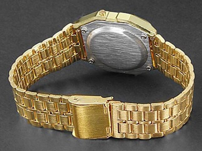 2018 Мода ретро старинные золотые часы мужчины электронный цифровой часы из светодиодов легкое платье наручные часы Relogio мужчина FYMHM102