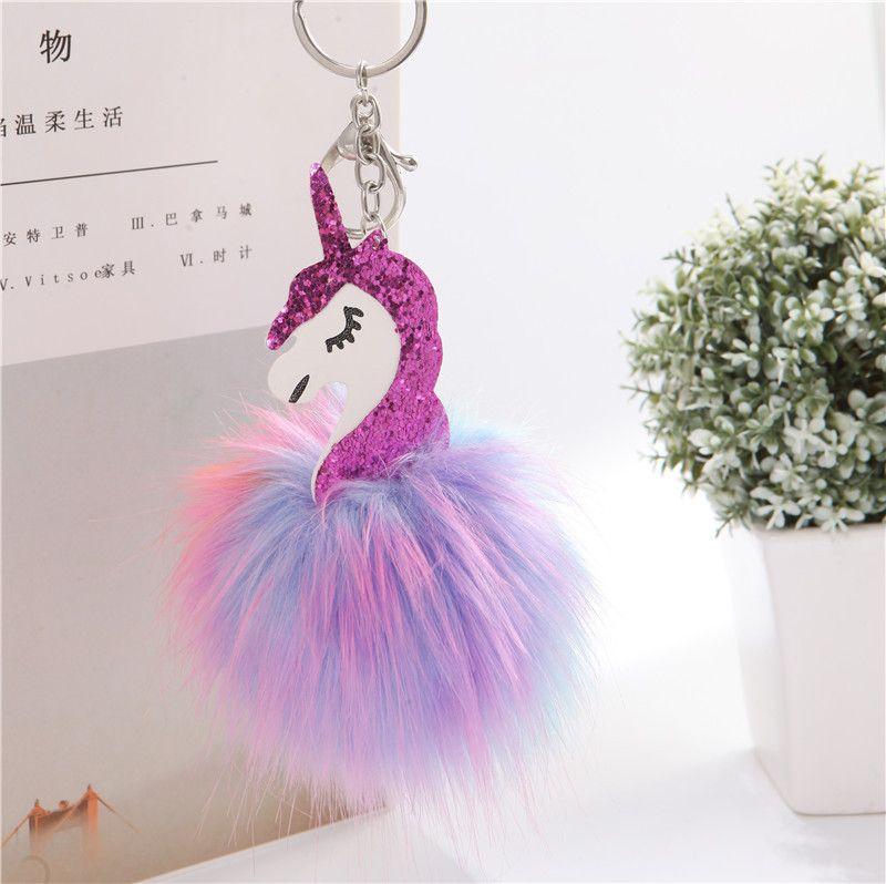 2017 Anime Horse Keychain Cute Metal Unicorn Key Chain Pendant Women Car Styling Fluffy Fur Pompom Keyring Bag Hang Trinkets