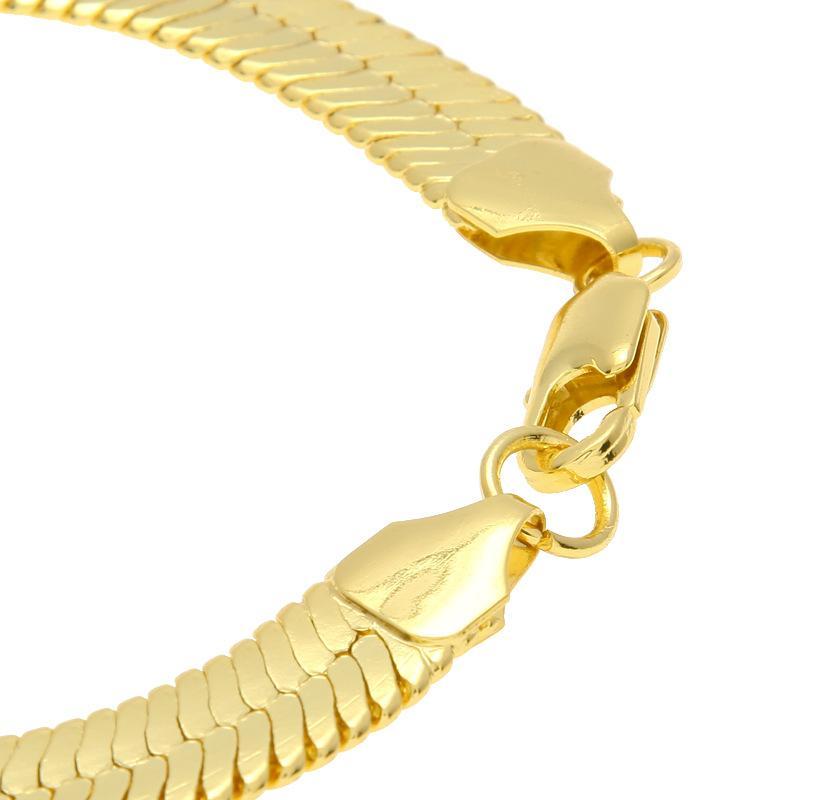1 CM solide Kupfer schlangenketten armbänder herrenmode Gold Gefüllt flache designer schlange Link armreifen Für mann luxus Hip Hop Schmuck zubehör
