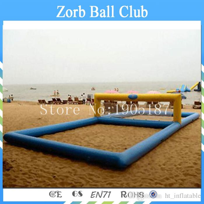 Free Shipping 12x6m Inflatable Beach Volleyball Court, Inflatable Water Games Equipment Water Volleyball Court For Seaside