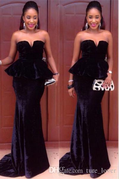 Elegante veludo africano sereia vestidos de noite com peplum longo varredura trem prom vestidos com zíper de volta sem mangas vestidos de festa