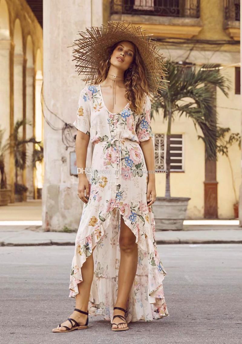 Großhandel Frauen Boho Maxi Kleider 20 Viskose Und Baumwolle Blumendruck  Sommer Böhmisches Strandkleid Kurz Große Schaukel Vintage Urlaub Lonf Kleid