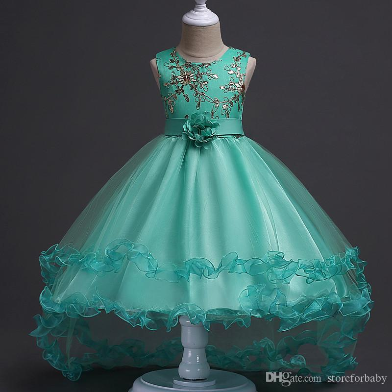 4f413608f693 2019 Sequined Baby Girl Dresses Princess Dress For Kids Girl Party Dress  Children Girls Bowknot Ball Gown Flower Lace Tail Birthday Puff Dresses  From ...
