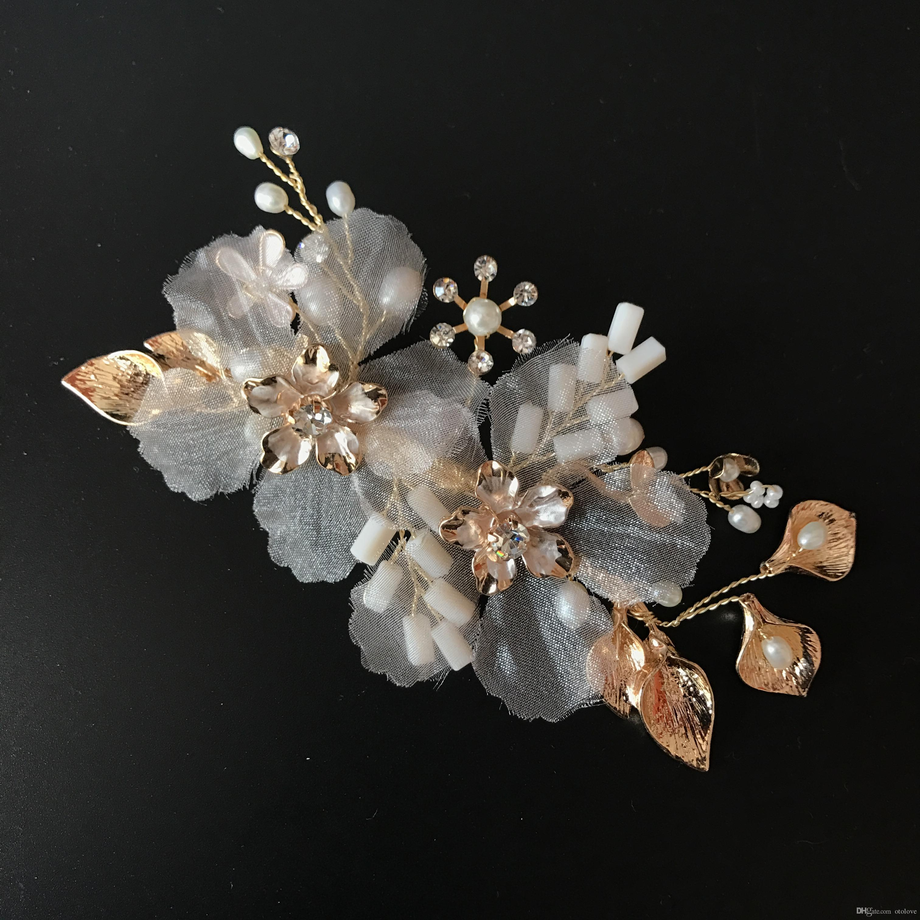 wholesale handmade bridal headpiece ivory & blush pink flowers