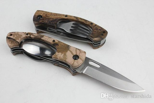 Wholesale Browning 970 Multifunction Tactical Folding Knife Fork Spoon Camping Hunting Survival Pocket Knife Utility EDC Tools