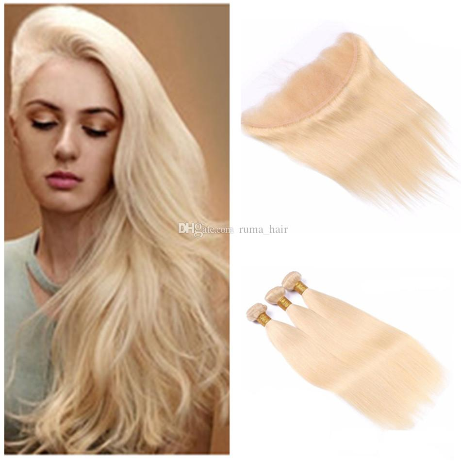 Peruvian Virgin Human Hair 3 Bundles With Blonde Lace Frontal Closure #613 Platinum Blonde Straight Hair Weaves With Lace Frontal