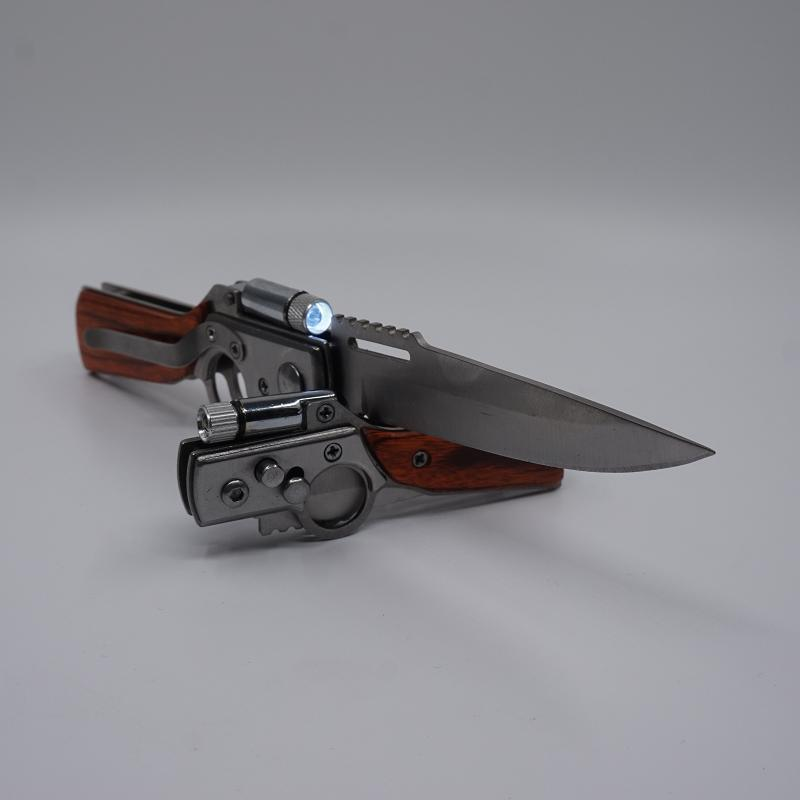 AK47 Pistolet En Forme de Couteau De Chasse 440 Lame En Acier Palissandre Poignée Tactique Couteaux Pliants Camping Multifonction Survie Couteau EDC Outil