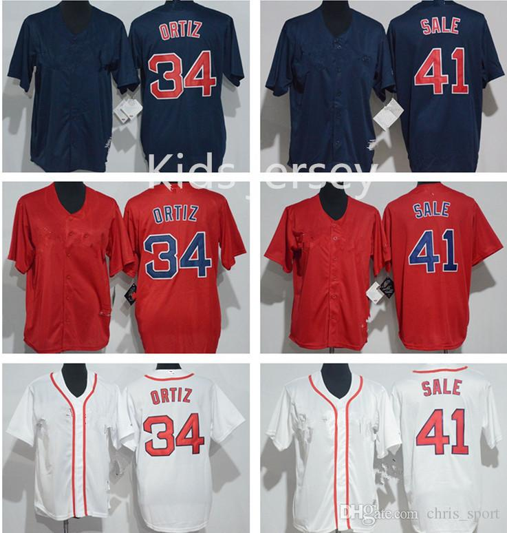 359019328 Youth Baseball Jersey Stitched Boston Red Blank 34 David Ortiz 41 Chris Sale  50 Mookie Betts White Red Grey Accept Custom David Ortiz Chris Sale Jerseys  ...