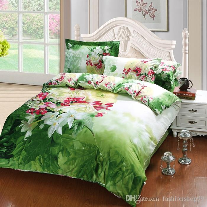 New Comforter Bedding Sets 3D Bed Sheet Set Duvet Cover Purple peony queen Size Beddings 100% Cotton Reactive Printing Beds