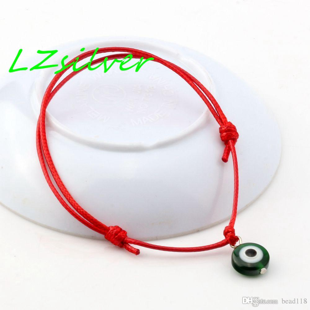 Heißer Verkauf! 100 Stück rotes Wachs Seil Mischfarbe Harz Evil Eye Perlen Charm verstellbare Armbänder