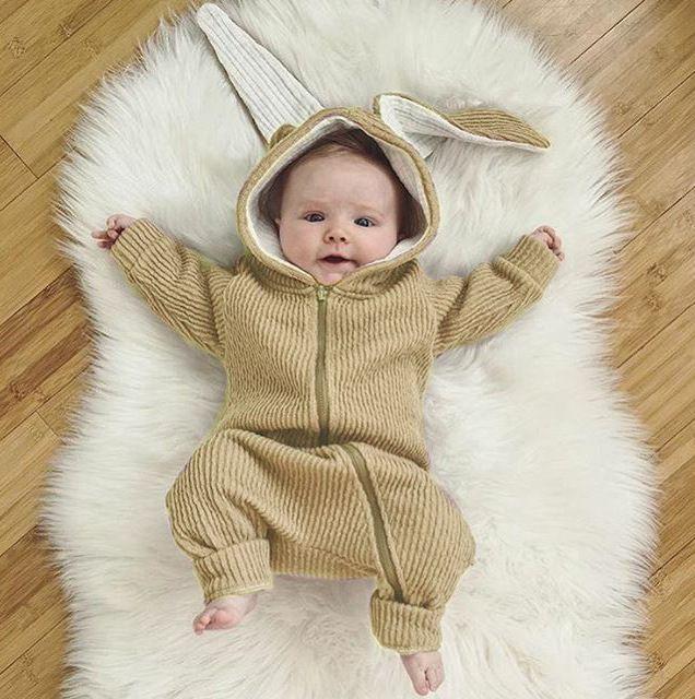 1e97e9ba2 Baby Rabbit Ear Rompers Infant Boy Girl Warm Jumpsuit Kids Autumn ...