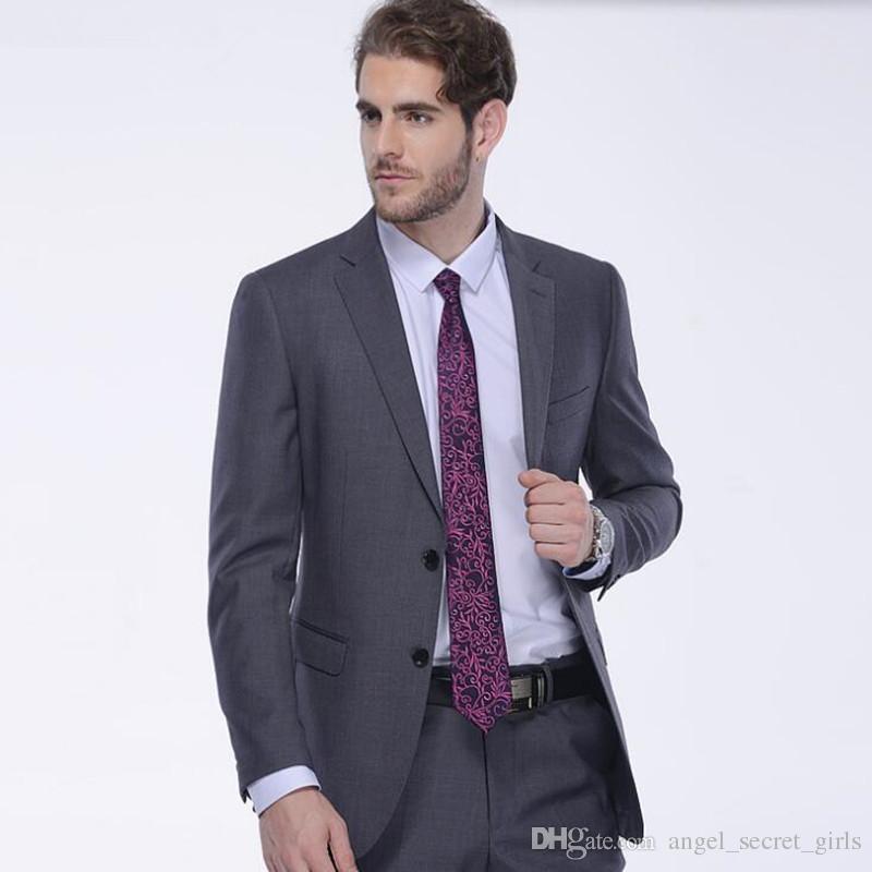 Gray men suits slim fit men's wedding suits tuxedos tailor made groom groomsman prom feast dress suitsjacket+pants
