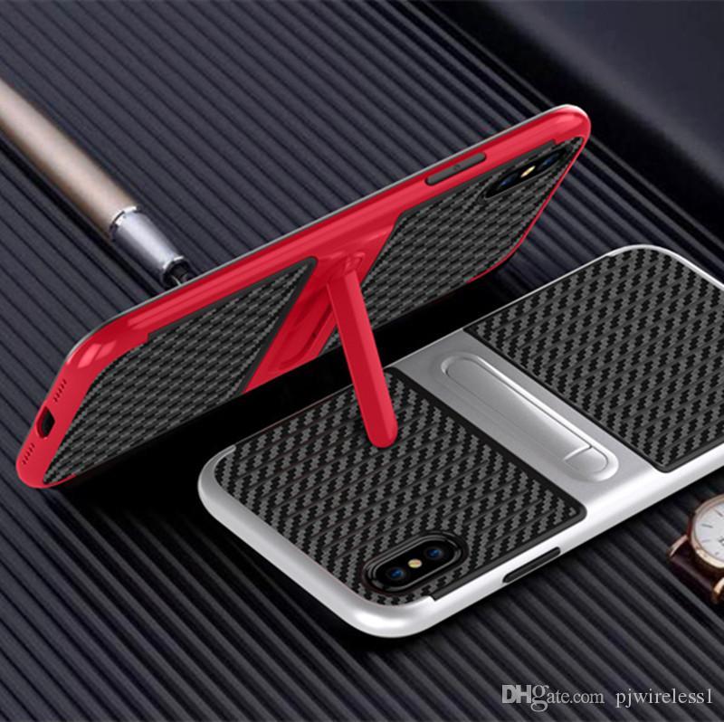 Para iPhone X 8 para Samsung Galaxy Note 8 Hybrid Defender Case Armadura resistente a prueba de golpes con cubierta Kickstand A