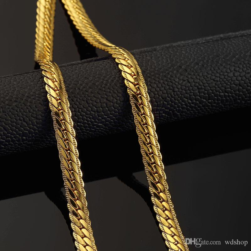 2018 Men 18k Gold Chains Punk Style Flat Snake Chain For