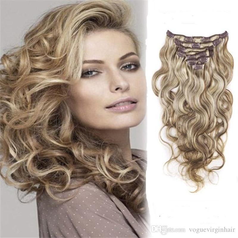 6 613 Blonde Hot Sale Clip In Human Hair Extensions Malaysian Hair