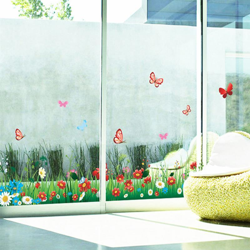 skirting butterfly bushes wall stickers flower plants grass border